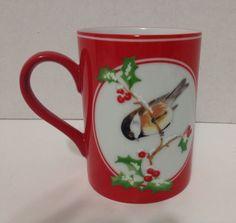 Fitz & Floyd Collectible Christmas Chickadee Fine Porcelain Mug # 370 80s EUC