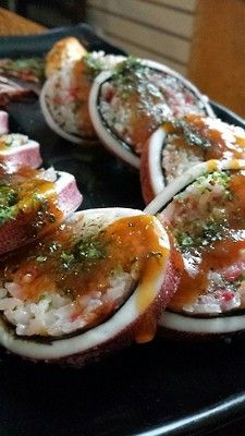 Ikameshi - grilled squid stuffed with rice at Cerezo Cafe & Bar in Calgary #yyc #yycfood via foodstyleaholic