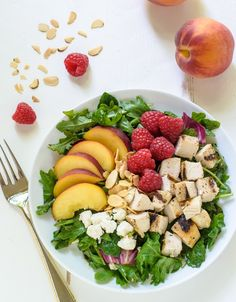 HOLD ALMONDS AND CHEESE, HONEY AND MUSTARD FOR AIP, everything for family. Grilled Peach Raspberry Chicken Salad with Feta and Kale