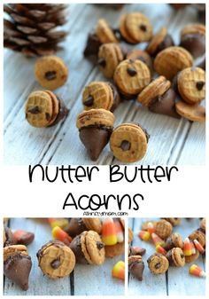 Nutter Butter acorns - A Thrifty Mom - Recipes, Crafts, DIY and Fall Recipes, Sweet Recipes, Snack Recipes, Dessert Recipes, Fall Snacks, Holiday Snacks, Great Desserts, Delicious Desserts, Yummy Food