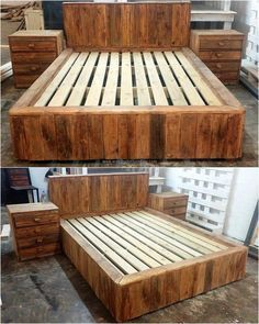 Pallet Furniture pallets-big-bed-with-side-tables - There are unlimited ideas with which the people with the creative mind can make the items of daily use by utilizing the recycled wood pallets,. Wood Pallet Beds, Pallet Patio Furniture, Wooden Pallet Projects, Wood Pallets, Wood Furniture, Furniture Design, Pallet Chair, Furniture Ideas, Furniture Stores