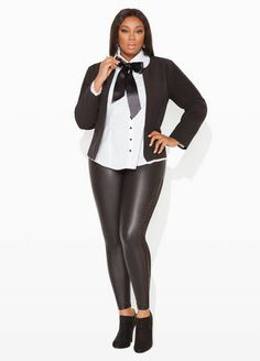 Ashley Stewart SIGNATURE BLAZER, Pleated Button Down, Faux Leather & Mesh Leggings and Faux Suede Bootie