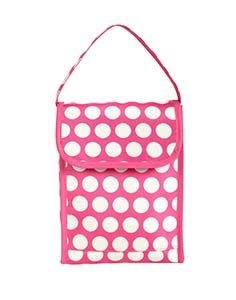"""Lunch Sak - Flamingo Dot 8""""W x 11""""H x 4.5""""D Best-dressed lunch! Wipe clean microfiber with white insulated lining. Front flap  with Velcro closure. Open front pocket."""