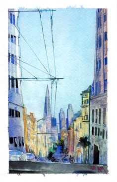 "Jones and Clay, San Francisco, CA, Watercolor and Gouache on Strathmore Cold Press Watercolor Paper, 5.5""x8.5"" - Ricardo Moody"