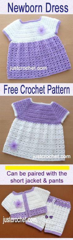 Free baby crochet pattern for dress, matches jacket & pants set. #crochet