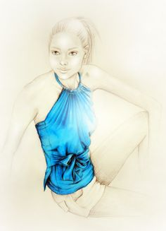 Azure Blue Wrap Top