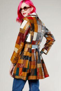 Vintage 70s Patchwork Leather Coat #70s #leather #thriftedandmodern #patchwork