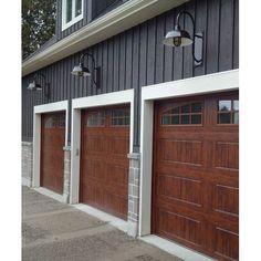 17 Husky Heavy Duty Cast Guard Honey Crackle Glass Photo Courtesy of Leesa Love House Design, House Siding, Garage Door Design, Exterior Design, House Painting, Exterior Paint Colors For House, House Paint Exterior, Paint Colors For Home, House Exterior