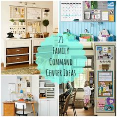 21 Family Command Center Ideas -- Do you need some organization in your life? Me too. A family command center can help keep the family connected, organized and on track. Check out all of the different ways to set one up in your home.