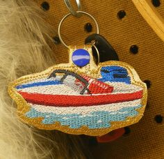 Boat Key Fob  Machine Embroidery Pattern by WhimsyDolls on Etsy