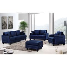 the ferrara living room set is an impeccable example of truly memorable opulent contemporary design - Blue Living Room Set