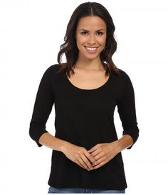 Mod-o-doc - Slub Jersey 3/4 Sleeve Scoop Neck Tee (Black) Women's T Shirt