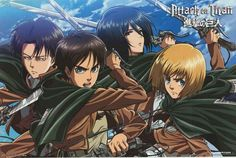 Attack on Titan Cast with Swords Anime Cartoon Poster 22x34