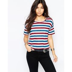 Vila Striped ShorT Sleeve T-Shirt (£17) ❤ liked on Polyvore featuring tops, t-shirts, multi, striped tee, short sleeve t shirt, striped top, short sleeve tee and stripe t shirt