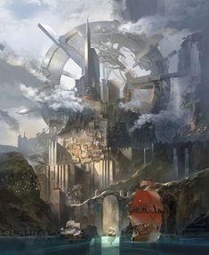 my favorite art work. It's still going on : ) ! Fantasy City, Fantasy World, Source Of Inspiration, Painting Inspiration, Cool Landscapes, Landscape Paintings, Digital Portrait, Illustration Art, Illustrations