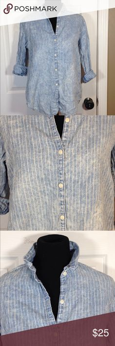 GAP chambray tie dye light wash button down large Great condition super cool soft comfortable great for spring!!!  Not from outlets GAP Tops Button Down Shirts