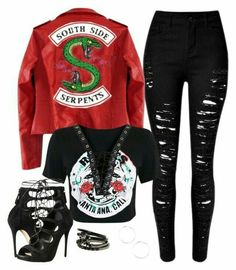 """""""[ Southside Serpent ]"""" by demiwitch-of-mischief ❤ Love this jacket! Cute Emo Outfits, Bad Girl Outfits, Komplette Outfits, Fandom Outfits, Teen Fashion Outfits, Teenager Outfits, Outfits For Teens, Riverdale Merch, Riverdale Fashion"""