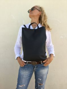 Modern Leather backpack 🎒 By Lara Klass Bag Made with great care and love of Italian leather . Been designed to be worn in all case. Leather Zipper Black Backpack by Lara Klass ~~ Dimensions : Length 33 cm Black Backpack, Leather Backpack, Leather Bag, Black Leather, Beautiful Bags, Trending Outfits, Backpacks, Unisex, How To Wear