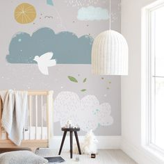 """Dreamy"" kids' removable wall mural by xx only available from Minted. Whimsical scene with clouds and birds to brighten up their day. Easy to install, easy to remove. Childrens Wall Murals, Kids Wall Murals, Nursery Wall Murals, Custom Wall Murals, Removable Wall Murals, Childrens Room Decor, Baby Room Design, Nursery Design, Dorm Art"