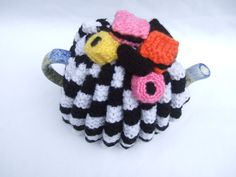 hand knitted tea cosy cosie black and white  with by TWINKKNITS, £13.00