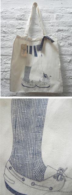 Eco bag sérigraphie marine dessin