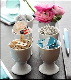 I love this idea of using egg cups to store little bits and pieces on top of your desk or other surface. BR x