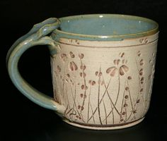 Wheat/grass Hand Carved and Hand Thrown High fired Stoneware coffee/tea mug etsy VirginiaRose Studio