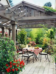 A pergola makes the perfect transition from the house to the outdoor kitchen and bar area. Even on hot, sunny days, the pergola provides enough shade to enjoy a glass of lemonade or a leisurely dinner. Outdoor Rooms, Outdoor Gardens, Outdoor Living, Outdoor Decor, Outdoor Patios, Outdoor Kitchens, Pergola Patio, Backyard Patio, Pergola Ideas