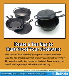 Kitchen Cleaning - Reuse a Tea Bag to Rust-Proof your Cookware