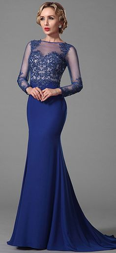 Long Sleeves Evening Gown With Lace Applique