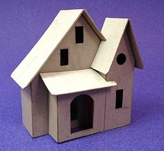 """View topic - The """"June Cottage"""".another """"Pack-O-Fun"""" size house. Christmas Village Houses, Putz Houses, Christmas Villages, Christmas Home, Christmas Crafts, Christmas Decorations, Doll Houses, Cardboard Box Houses, Cardboard City"""