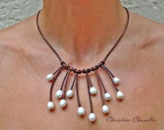 Pearl and Leather Necklace 5 Strand Leather by ChristineChandler