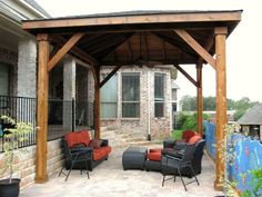 Patio With Metal Furniture And Attached Pergola Pergolas Metal
