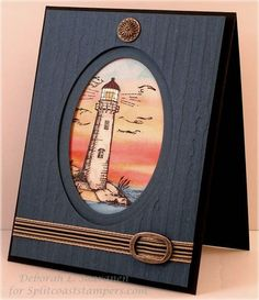 Nice lighthouse with sunset. Distressed Stripes EF used for card base.