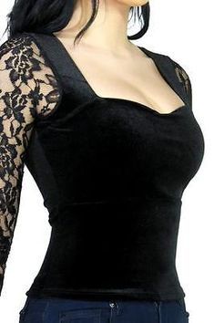 Black Gothic Sweetheart Velvet & Lace Top Shirt Gothic Lolita Alternative Grunge | Clothing, Shoes & Accessories, Women's Clothing, Tops & Blouses | eBay!