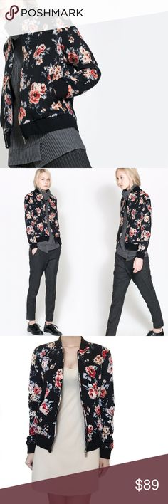 """• Zara • Floral Bomber Jacket Super chic floral printed bomber. Feminine approach on off-duty styling. Accented with contrast ribbed black trim. Multicolored floral bomber. Offers welcome.   \\ Bust 20"""" Zara Jackets & Coats"""