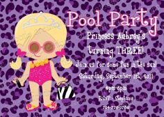 Diva Pool Party Birthday Invitation Girl by Cutie Patootie Creations www.cutiepatootiecreations.com