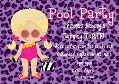 Diva Pool Party Birthday Invitation Girl by Cutie Patootie Creations www.cutiepatootiecreations.com