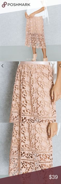 d700ff609b Missguided Crochet Lace A Line Skirt Soft and comfortable crochet lace  fabric skirt - Great for