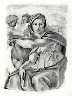 The Delphic Sybyll. Copy of Michelangelo's painting from the the ceiling of the Sistine Chapel. Michelangelo Paintings, Sistine Chapel, Pencil Drawings, Ceiling, Statue, Art, Art Background, Ceilings, Kunst