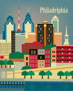 Philadelphia, Pennsylvania Skyline 11 x 14 Original Art Poster Print for Home, Nursery, or Office Decor - style sold by Loose Petals. Shop more products from Loose Petals on Storenvy, the home of independent small businesses all over the world. Banksy, City Poster, Philadelphia Skyline, Philadelphia Shopping, Historic Philadelphia, Visit Philadelphia, Voyage Usa, Poster Retro, Skyline Art