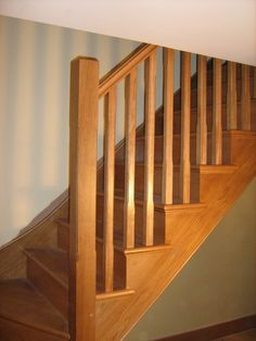 "To see examples of our staircases please visit our board ""BESPOKE WOODEN STAIRCASES"" http://www.pinterest.com/merrinjoinery/bespoke-wooden-staircases/ ~~~~~~~~~ IMAGE: Oak cut string staircase by Merrin Joinery"