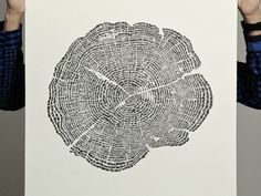 """Tree of Life print - each """"ring"""" of the tree is actually made of thousands of silhouettes of animals! So so clever!"""
