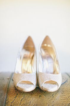 Shimmering champagne peep-toe heels | Photo by Onelove Photography