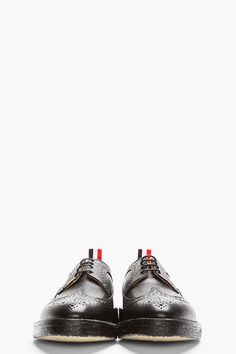 THOM BROWNE // Black Scotchgrain Leather Longwing Brogues $1000