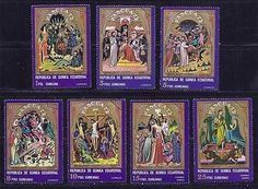 FS1374 1972 Guinea 7 Different Art Paintings Jesus Christ Religion FREE SHIPPING