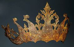 Indonesia ~ South Sumatra, Bengkulu, Lampung | Bridal Crown; silver-gilt, copper | 20th century