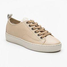Sneakers à semelles compensées Ganama Cash, cuir beige semelle : 3,5 cm