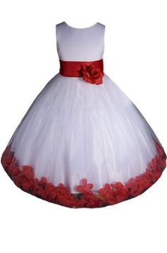AMJ Dresses Inc Girls White/red Flower Girl Christmas Dress Sizes 2 to 12,Lower price available on select options