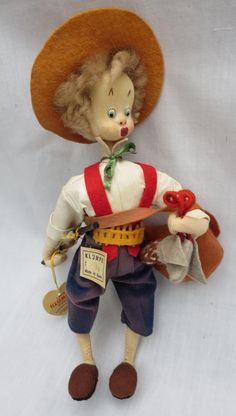 "SOLD: Vintage 10"" Tall Cloth Klumpe Hunter Doll With Tags Spain"